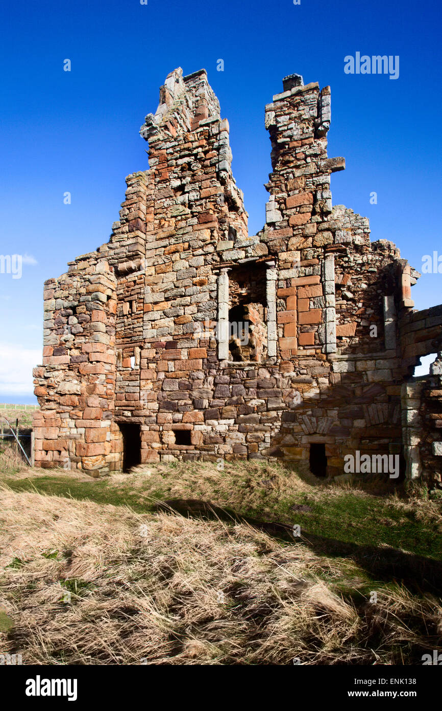 The Ruin of Newark Castle on the Fife Coast Path near St. Monans, Fife, Scotland, United Kingdom, Europe - Stock Image