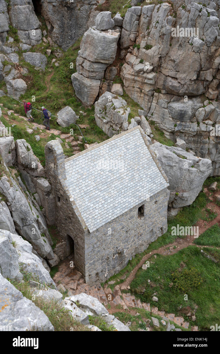 St. Govan's Chapel, St. Govan's Head, near Pembroke, Pembrokeshire, Wales, United Kingdom, Europe - Stock Image