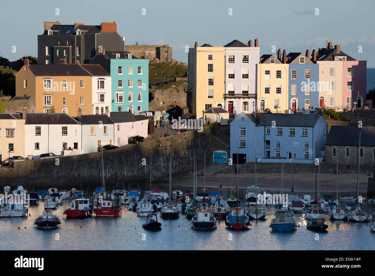 View over harbour, Tenby, Carmarthen Bay, Pembrokeshire, Wales, United Kingdom, Europe - Stock Image