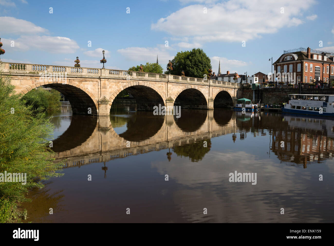 The Welsh Bridge over River Severn, Shrewsbury, Shropshire, England, United Kingdom, Europe - Stock Image