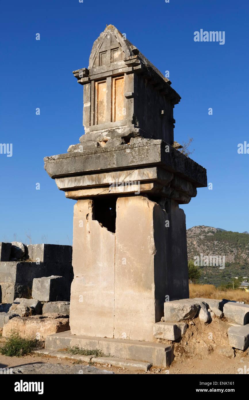 Lycian tomb, Xanthos, near Kalkan, Lycia, Antalya Province, Mediterranean Coast, Southwest Turkey, Anatolia, Turkey, - Stock Image