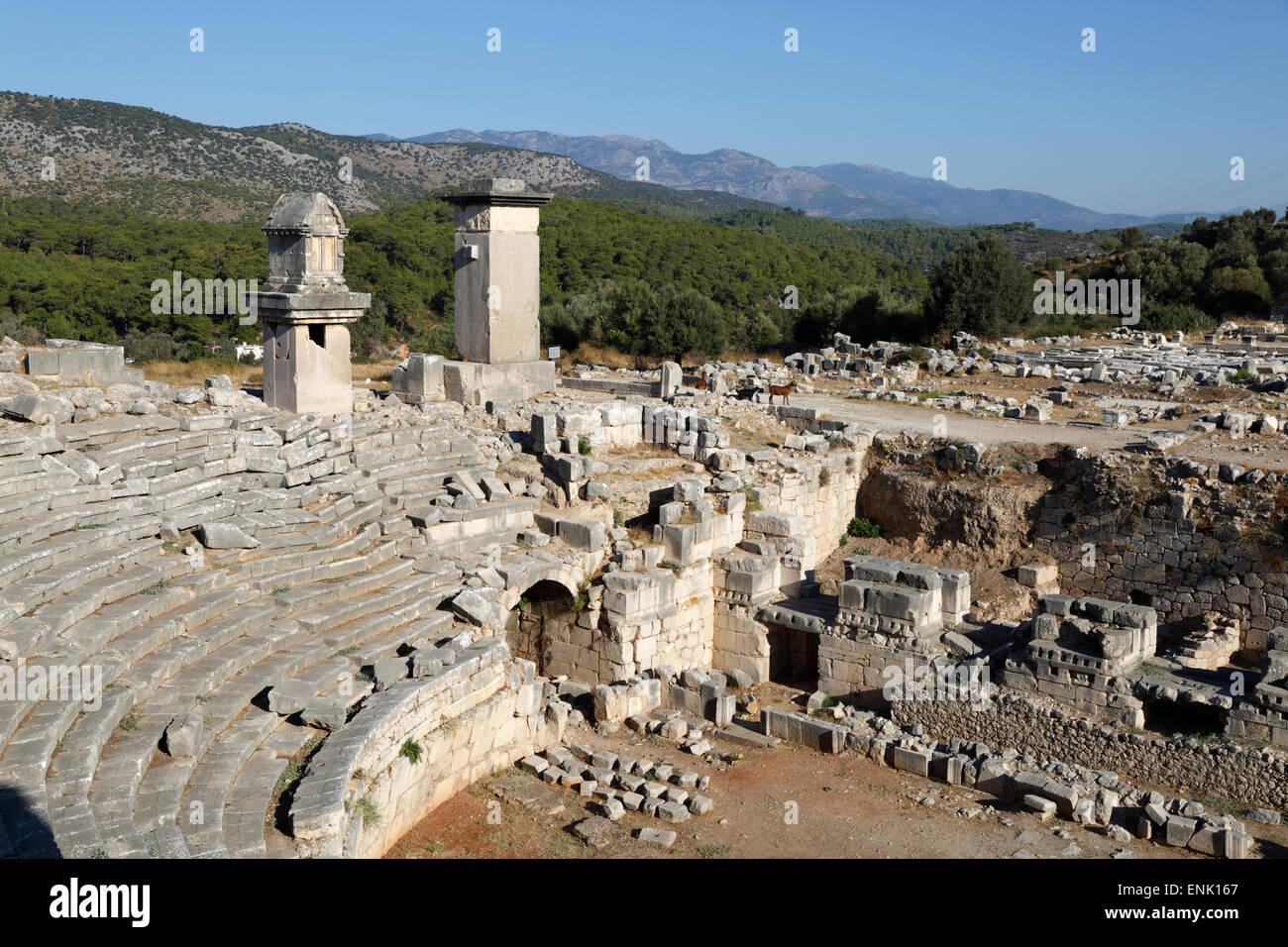 Amphitheatre and Harpy monument, Xanthos, Kalkan, Lycia, Antalya Province, Southwest Turkey, Anatolia, Turkey - Stock Image