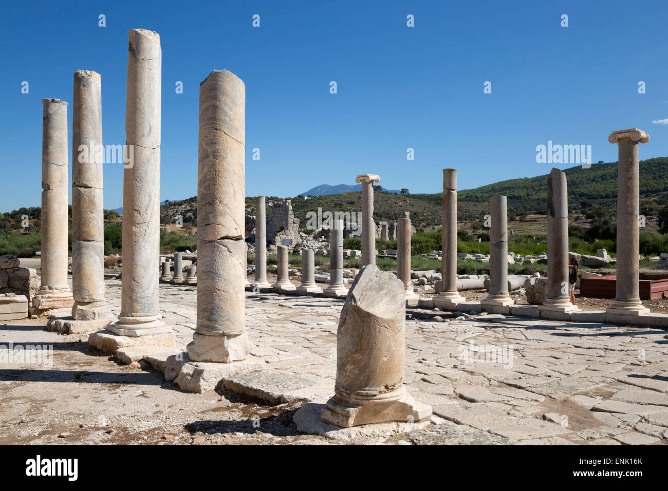 Ruined colonnaded Main Street, Patara, near Kalkan, Lycia, Antalya Province, Southwest Turkey, Anatolia, Turkey - Stock Image