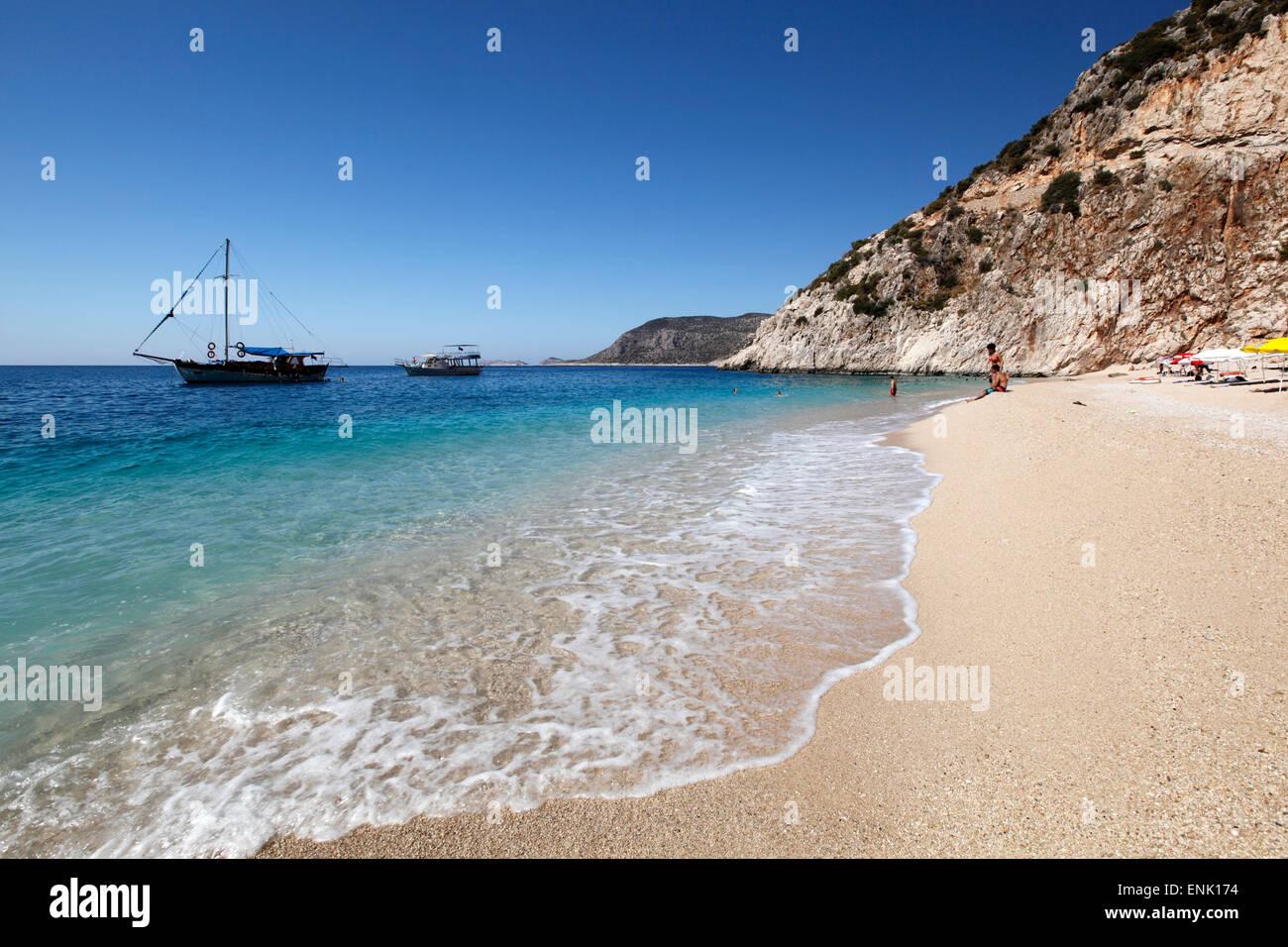 Kaputas beach, near Kalkan, Lycia, Antalya Province, Mediterranean Coast, Southwest Turkey, Anatolia, Turkey, Asia - Stock Image