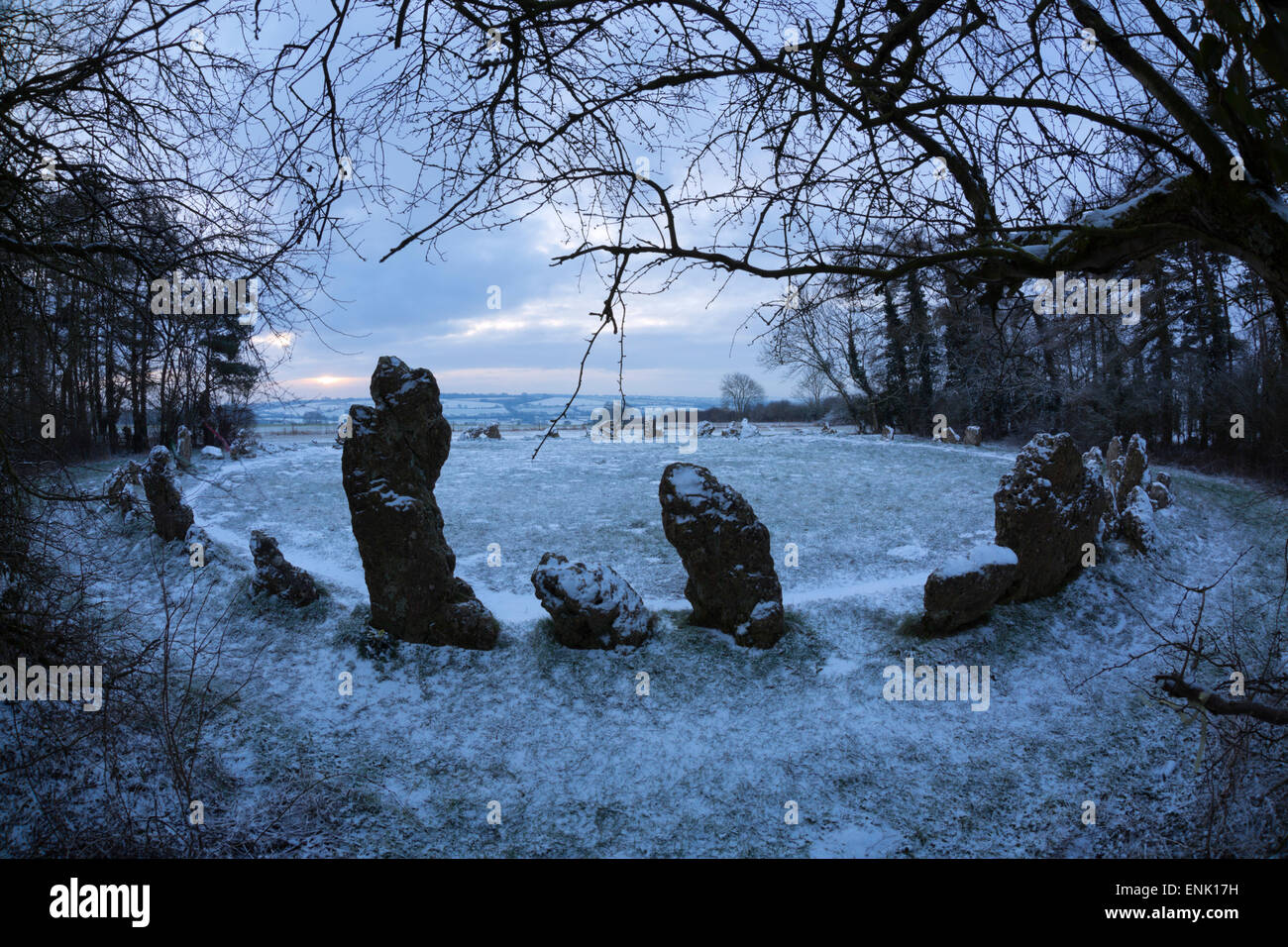 The King's Men in snow, The Rollright Stones, near Chipping Norton, Cotswolds, Oxfordshire, England, United - Stock Image