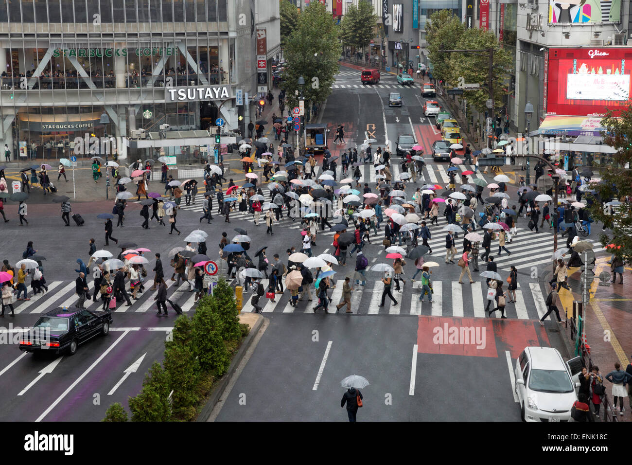 Shibuya crossing (The Scramble), Shibuya Station, Shibuya, Tokyo, Japan, Asia Stock Photo