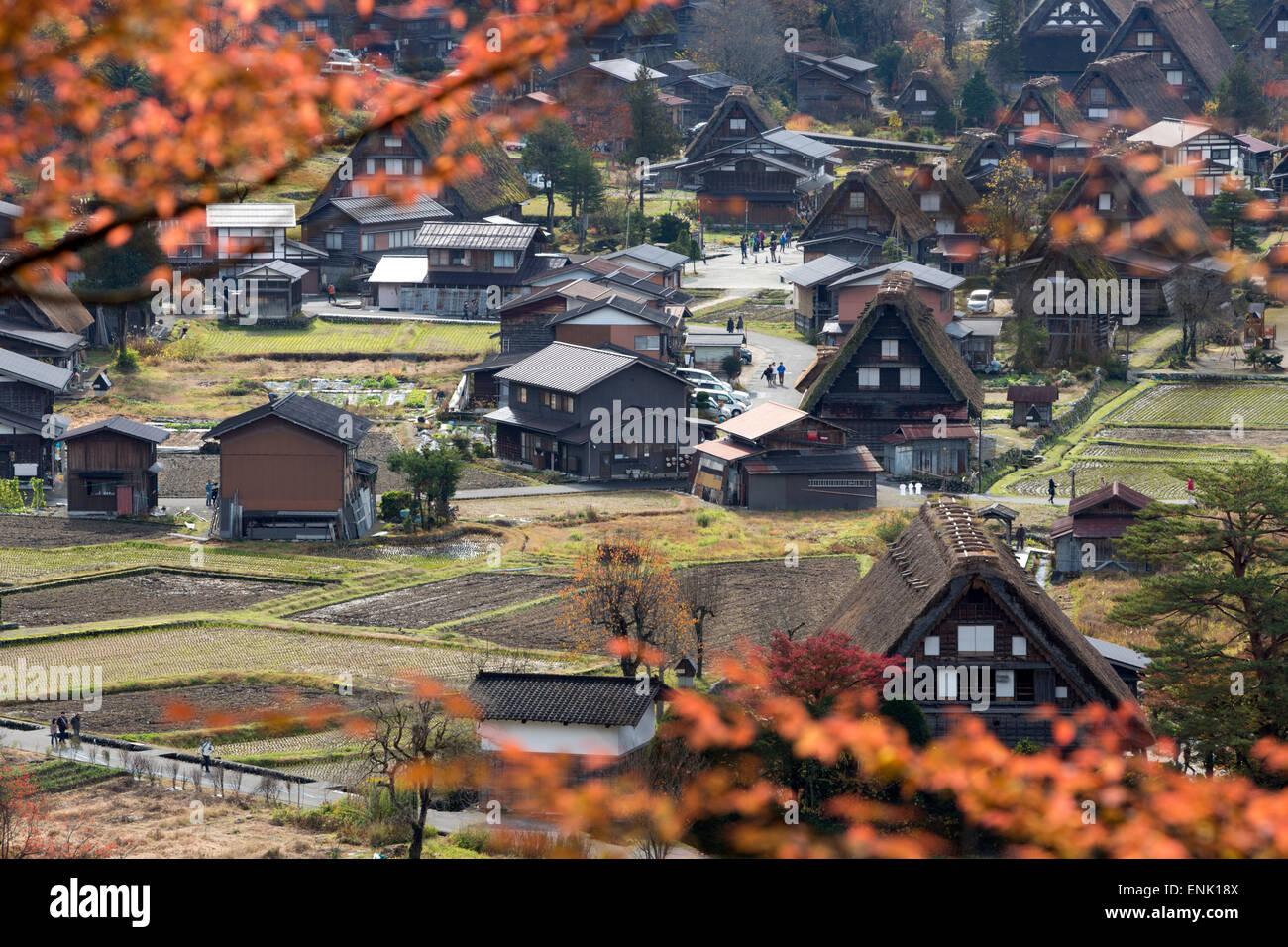 Gassho-zukuri folk houses, Ogimachi village, Shirakawa-go, near Takayama, Central Honshu, Japan, Asia Stock Photo