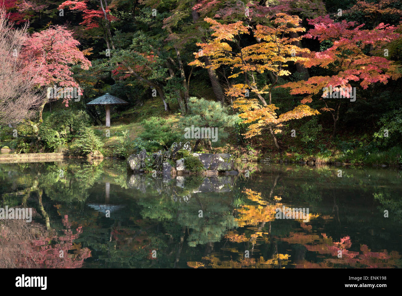 Autumn colours reflected in Hisagoike pond, Kenrokuen Garden, Kanazawa, Ishikawa Prefecture, Central Honshu, Japan, - Stock Image