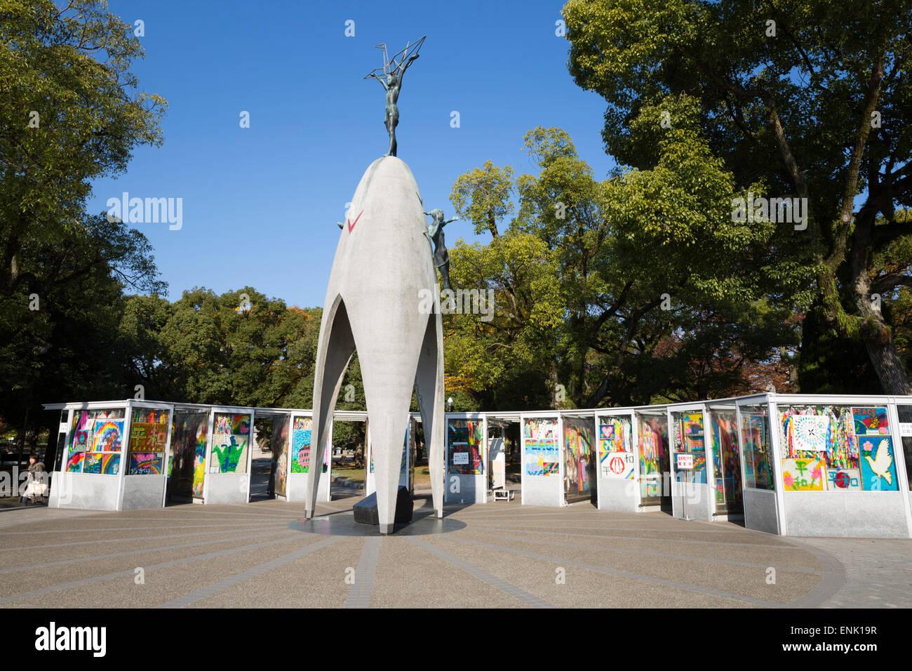 Children's Peace Monument, Hiroshima Peace Memorial Park, Hiroshima, Western Honshu, Japan, Asia - Stock Image