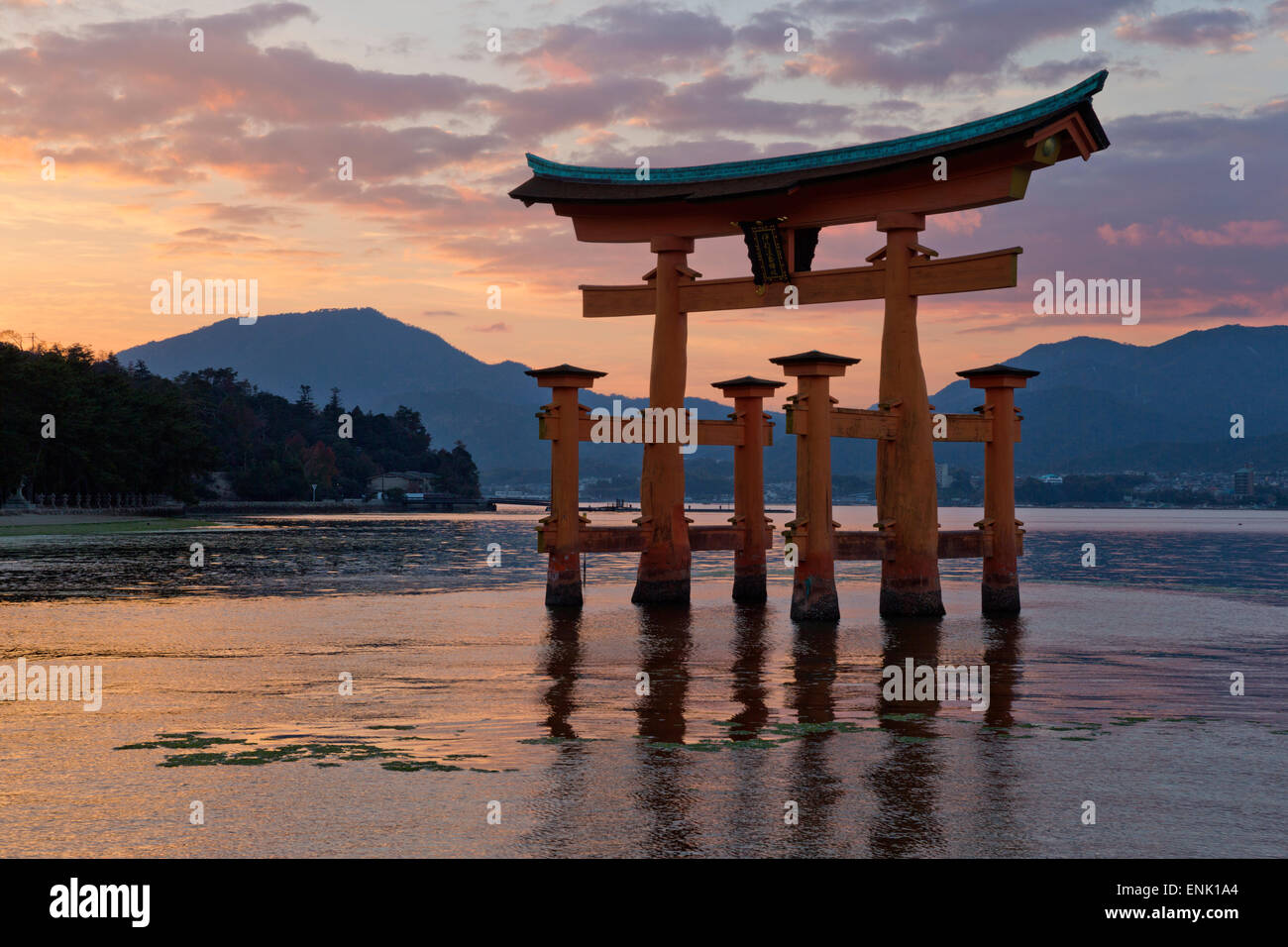 The floating Miyajima torii gate of Itsukushima Shrine at sunset, UNESCO, Miyajima Island, Western Honshu, Japan, - Stock Image