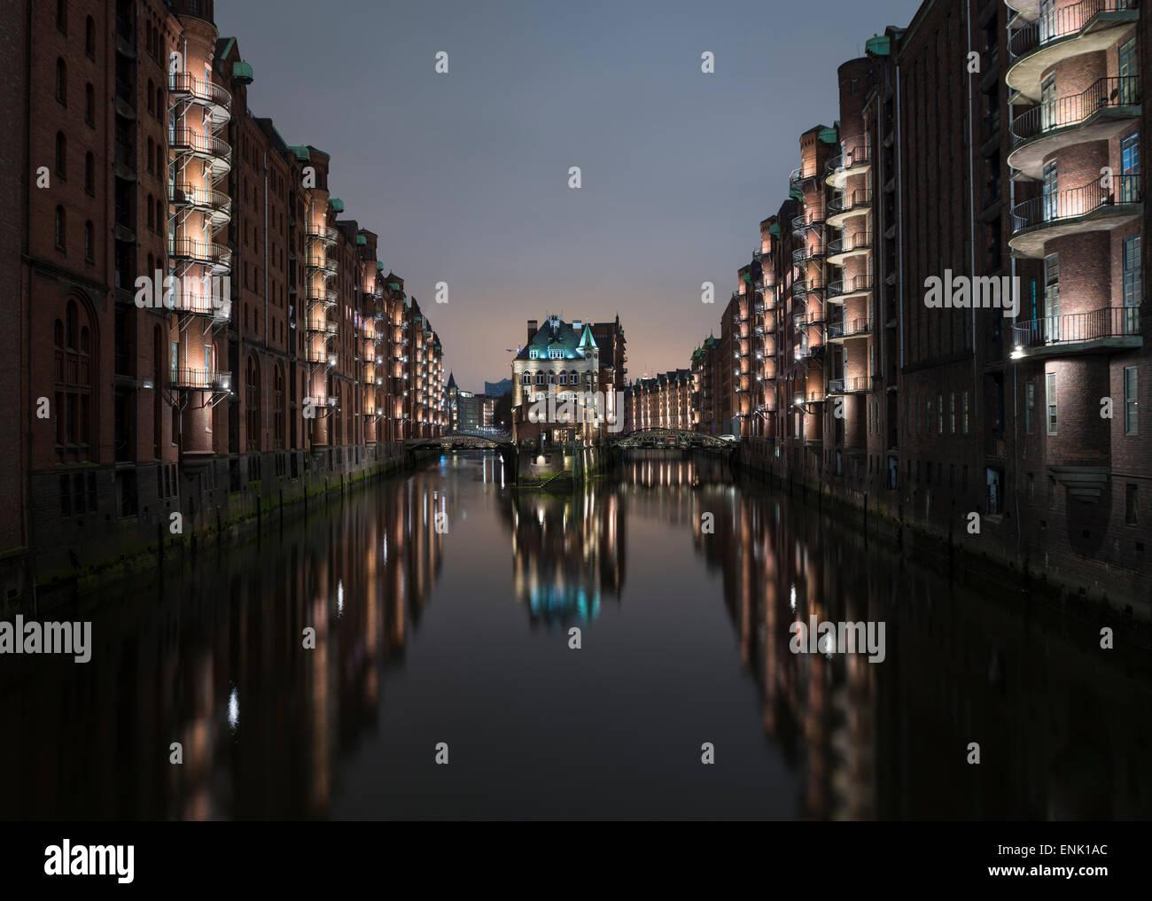 Speicherstadt District, Hafencity, Hamburg, Germany, Europe - Stock Image