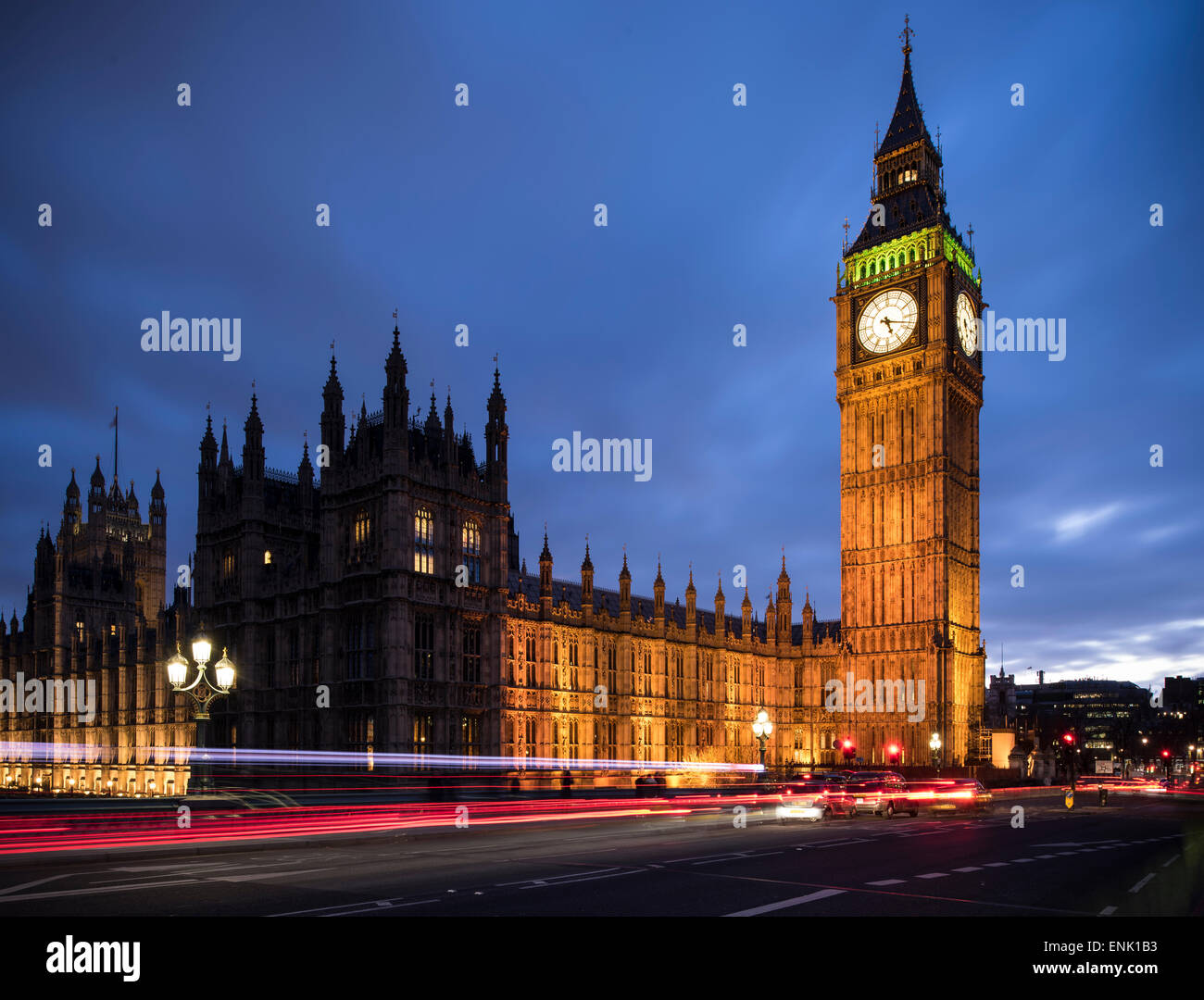 Big Ben, Houses of Parliament, UNESCO World Heritage Site, Westminster, London, England, United Kingdom, Europe - Stock Image