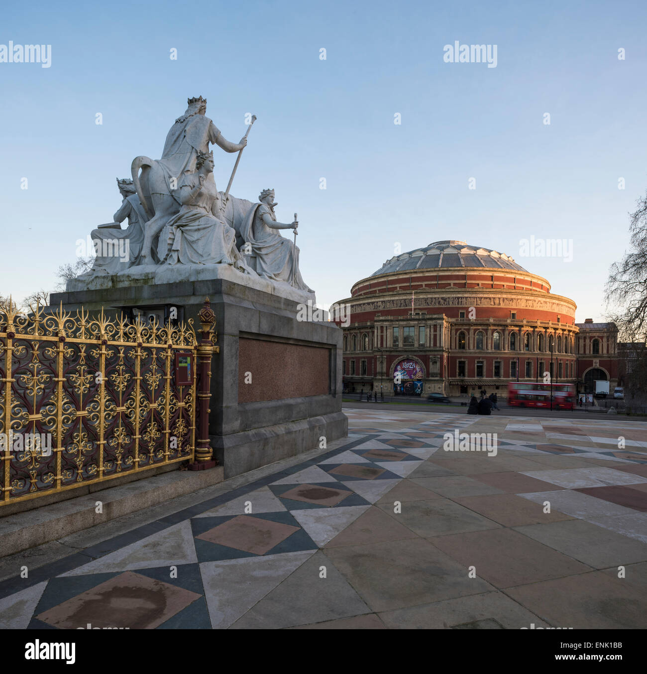 Exterior of the Royal Albert Hall from The Albert Memorial, Kensington, London, England, United Kingdom, Europe - Stock Image