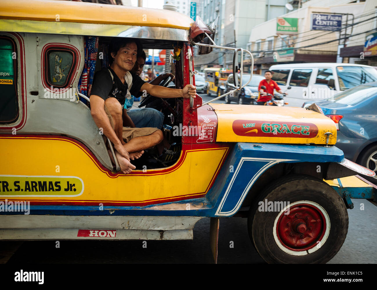 Jeepney traffic in central Manila, Philippines, Southeast Asia, Asia - Stock Image