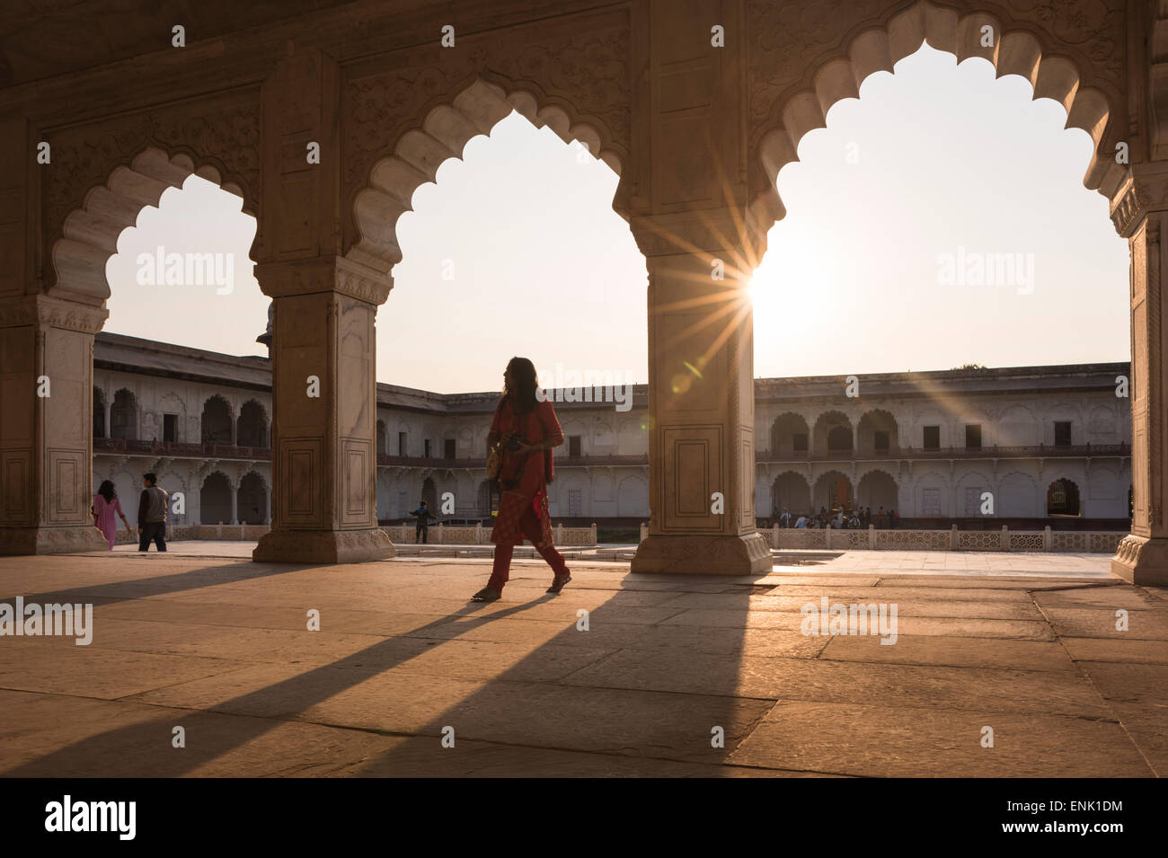 Agra Fort at sunset, UNESCO World Heritage Site, Agra, Uttar Pradesh, India, Asia - Stock Image