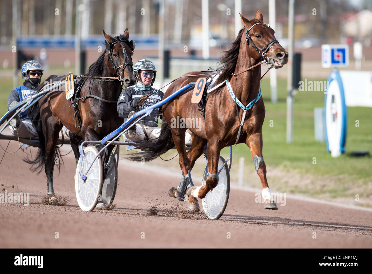Harness racing at Mantorp race course in Sweden - Stock Image