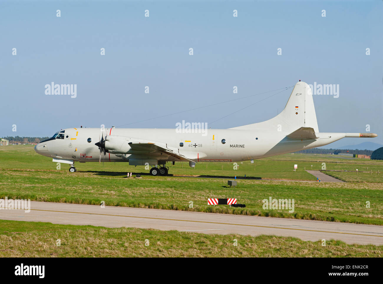 German Navy Maritime P3C Orion ASW Long Range Aircraft Serial Registration 60+08 at RAF Lossiemouth Scotland.  SCO 9729. Stock Photo