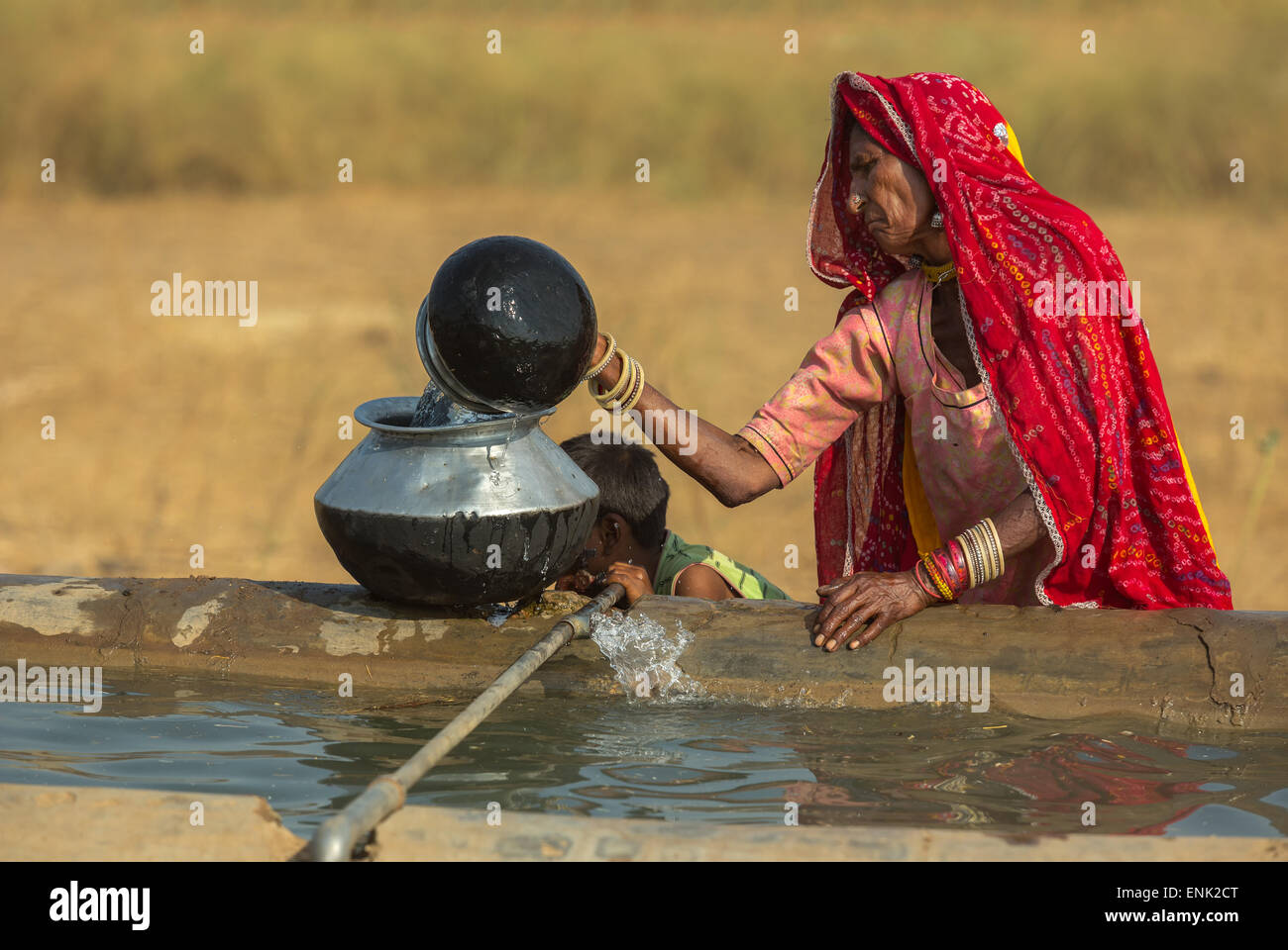 PUSHKAR,INDIA - November 3,2014 : Unidentified women draw water form the well and take it to her tent in desert. - Stock Image