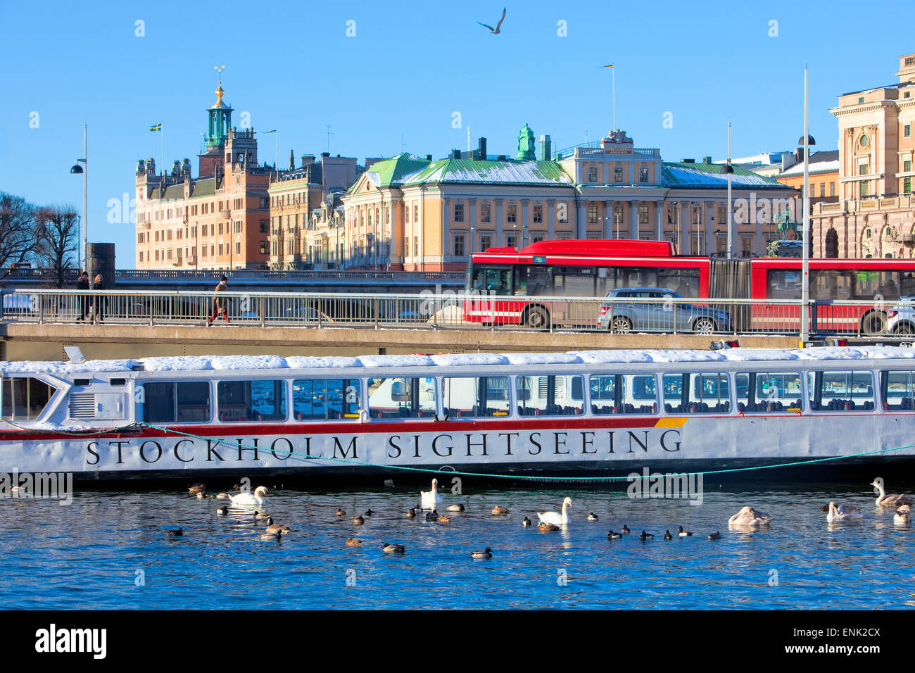Sweden, Stockholm - Sightseeing Boat Anchored in City for Winter. - Stock Image