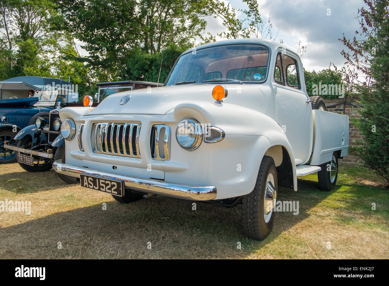WINDSOR, BERKSHIRE, UK- AUGUST 3, 2014: A White Bedford TJ Classic Truck on show at a Classic Car Show in August - Stock Image