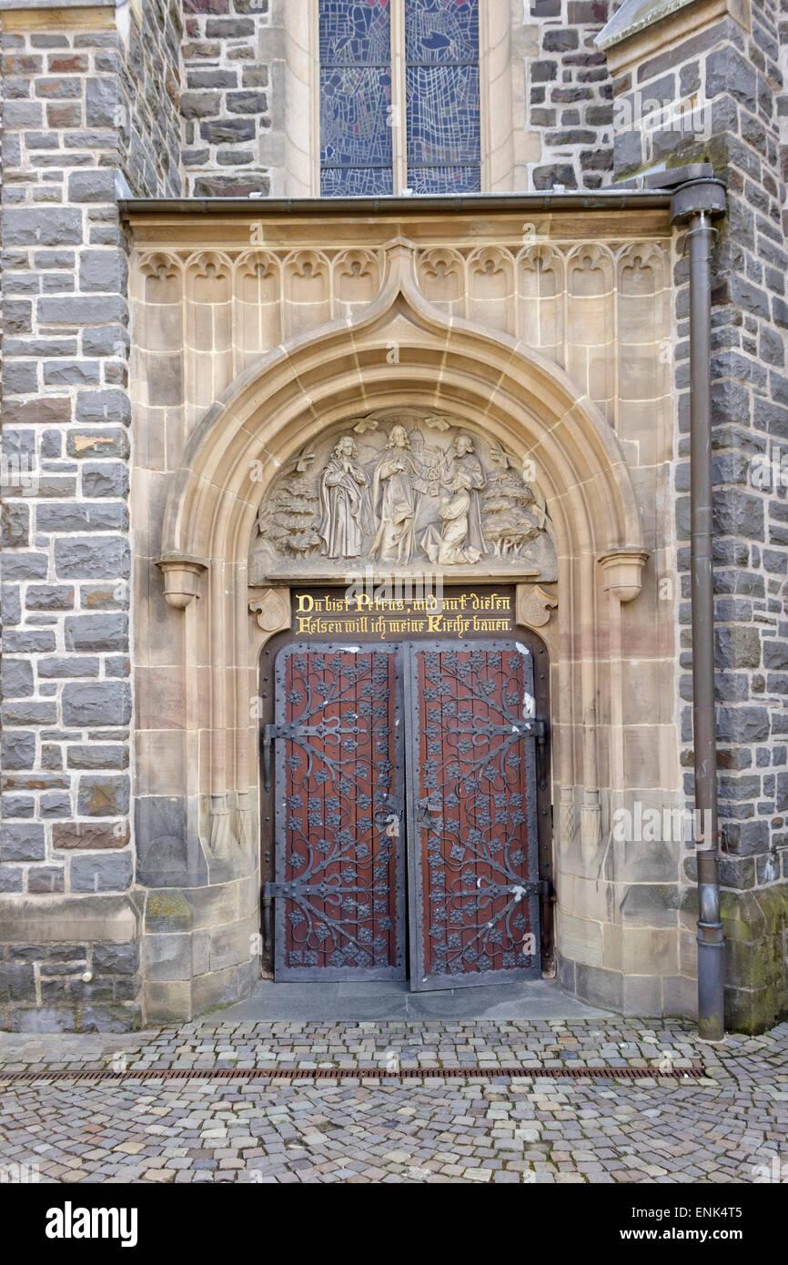 entrance, Martinus Church, Olpe, Sauerland, North Rhine-Westfalia, Germany - Stock Image
