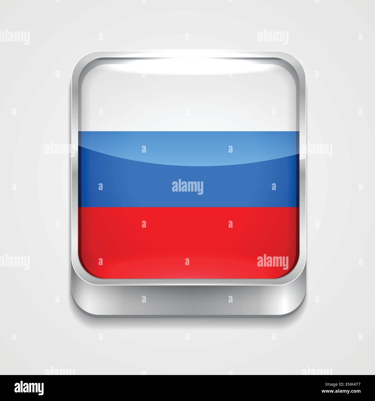 vector 3d style flag icon of russia - Stock Image