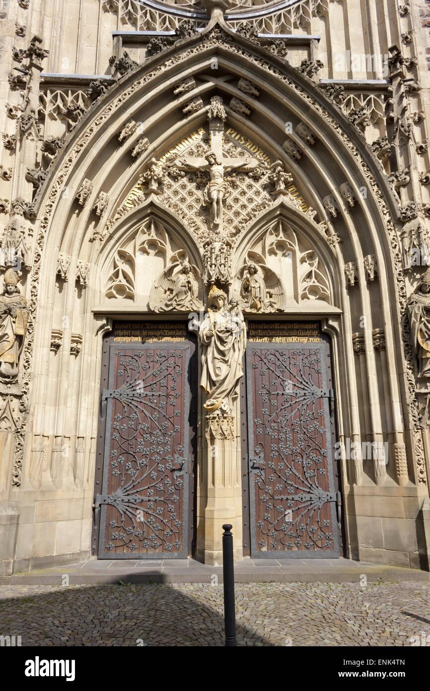 side entrance, Martinus Church, Olpe, Sauerland, North Rhine-Westfalia, Germany - Stock Image