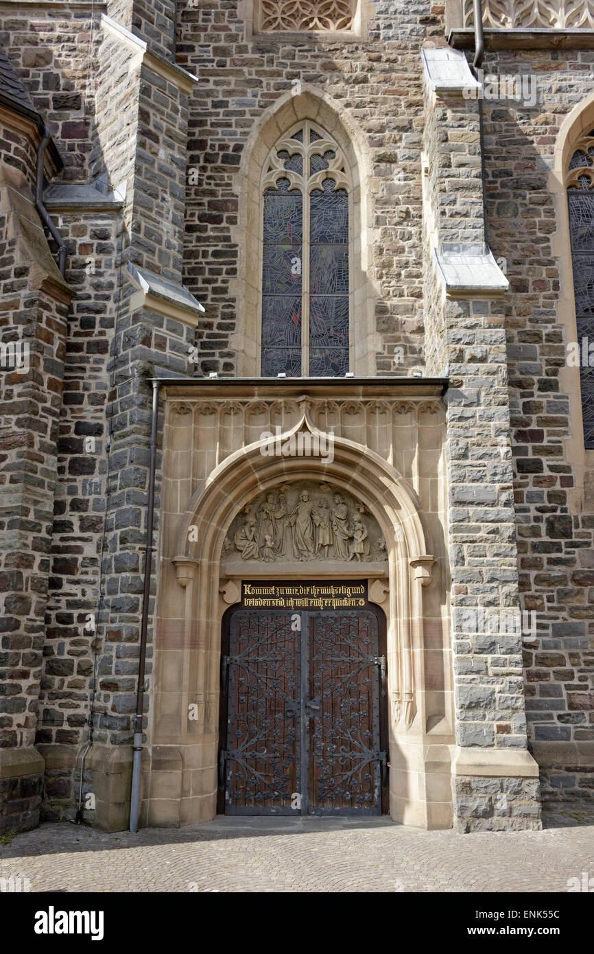 back entrance, Martinus Church, Olpe, Sauerland, North Rhine-Westfalia, Germany - Stock Image