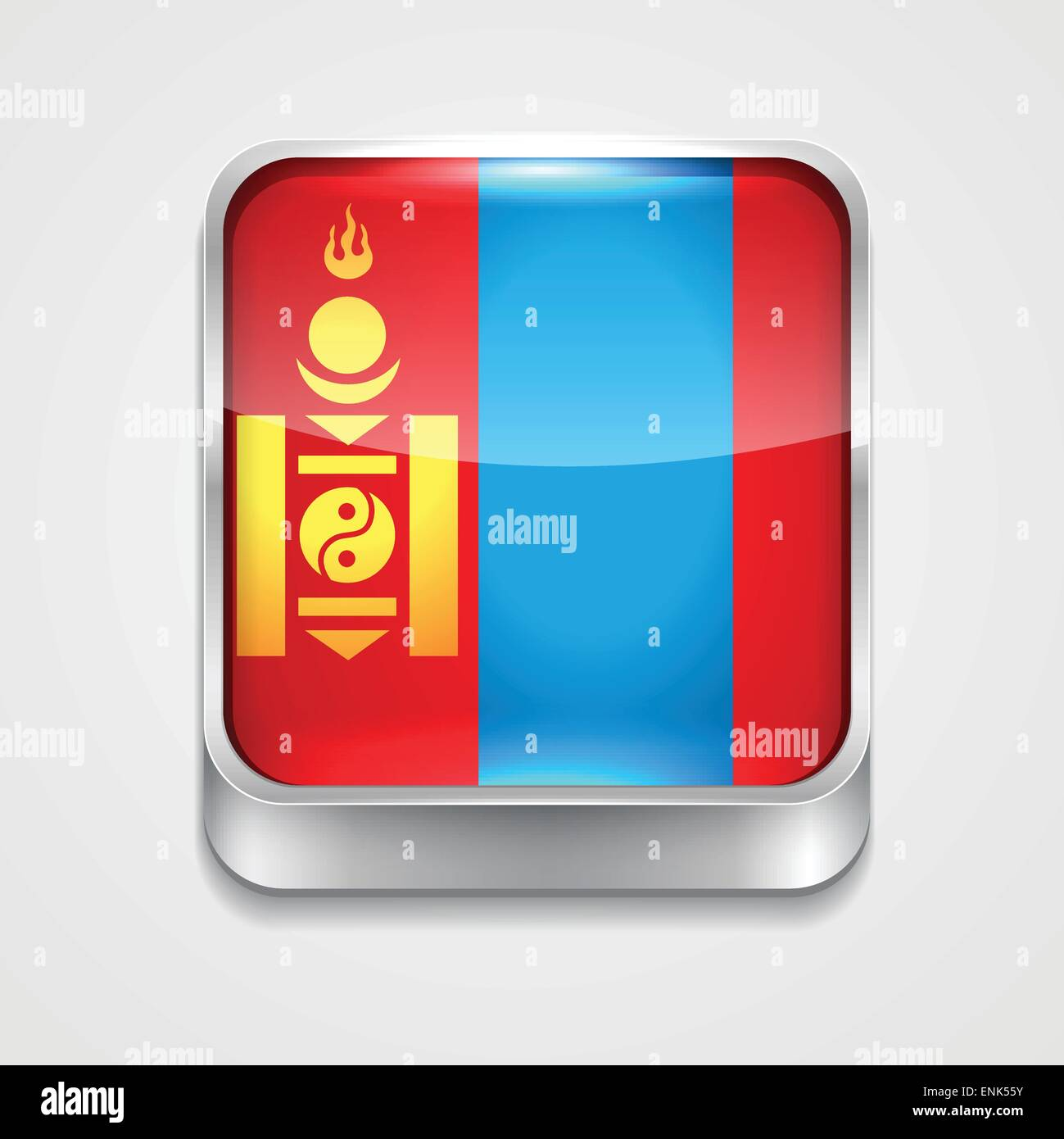 vector 3d style flag icon of mongolia - Stock Vector