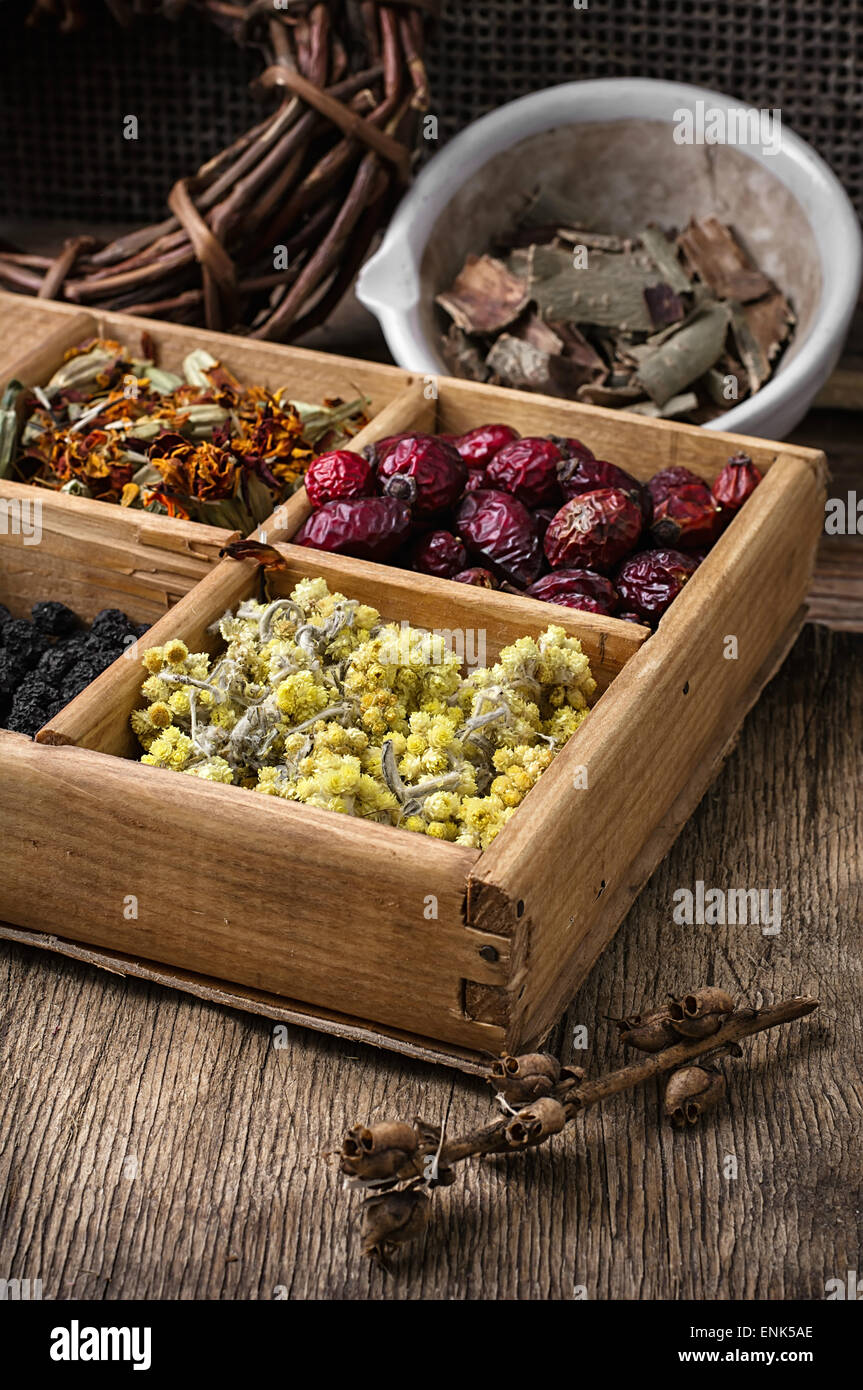 wooden box with herbs traditional medicine from home kit in the rural style.Selective focus - Stock Image
