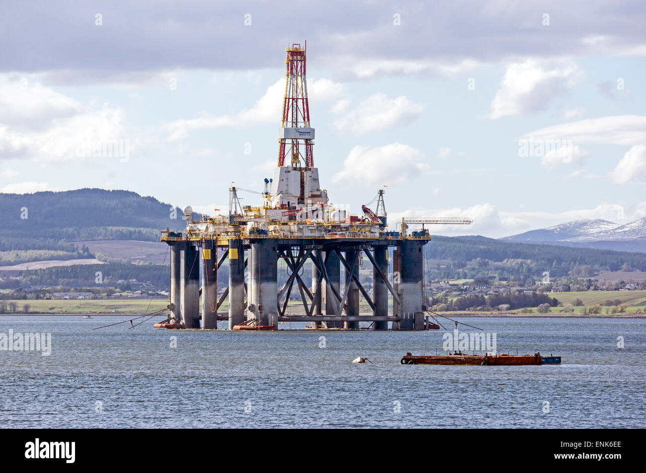 Midwater Semi-Submersible rig Transocean Sedco 712 anchored in the Cromarty Firth at the Black Isle Highland Scotland - Stock Image