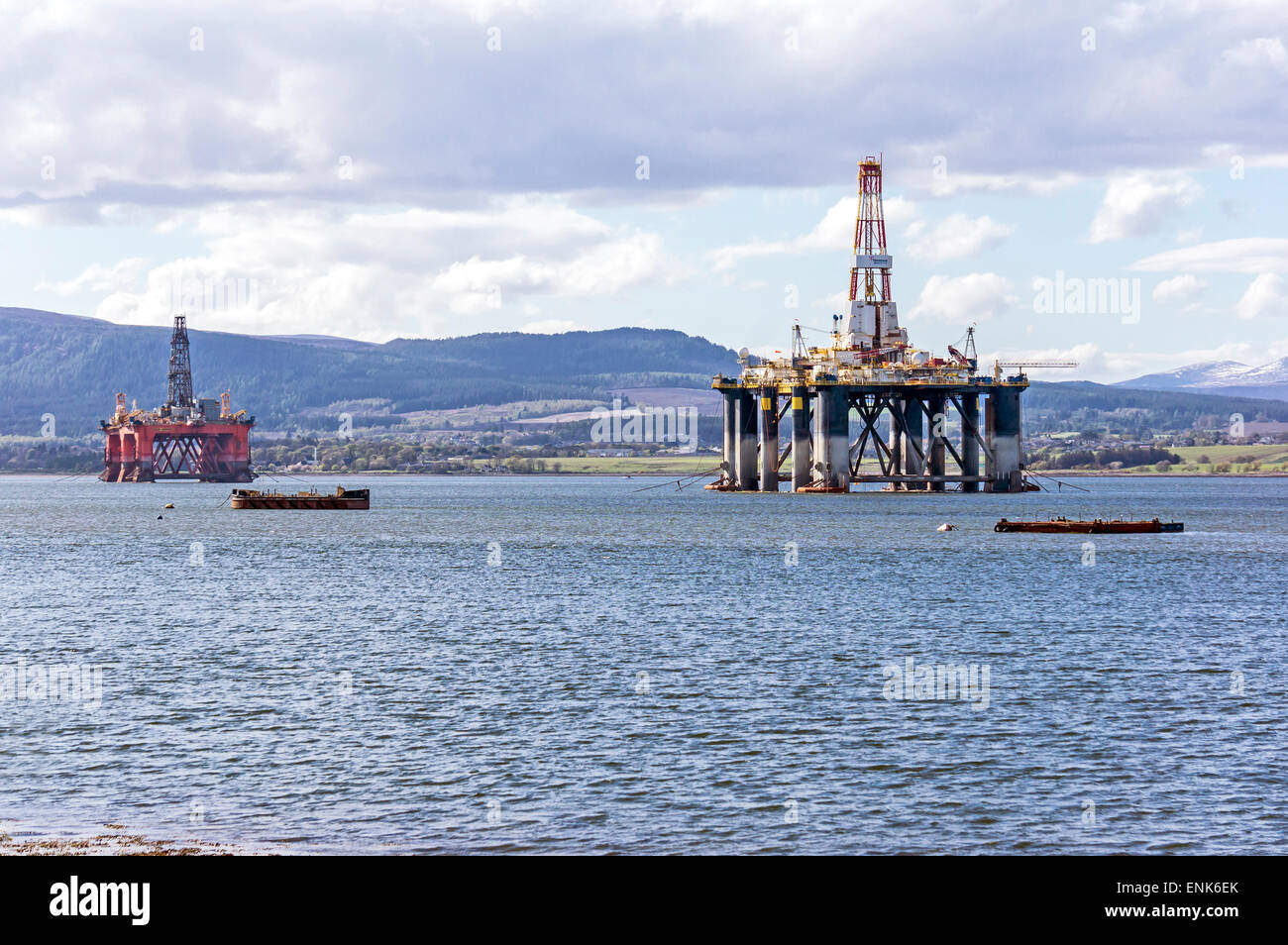 Transocean Sedco 712 (r) & Ocean Vanguard (l) anchored in the Cromarty Firth at the Black Isle Highland Scotland - Stock Image