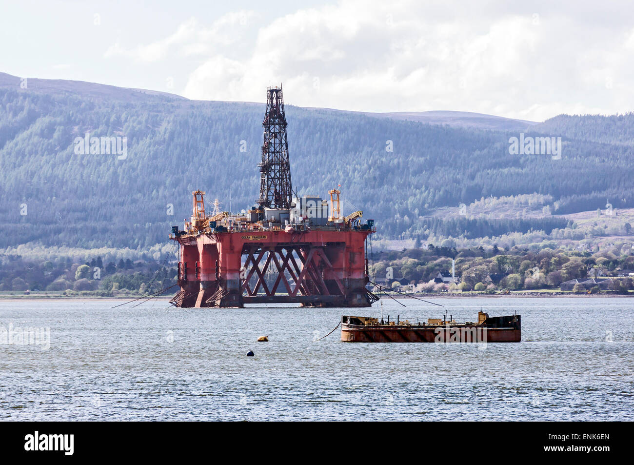 Drilling rig Ocean Vanguard anchored in the Cromarty Firth at the Black Isle Highland Scotland - Stock Image