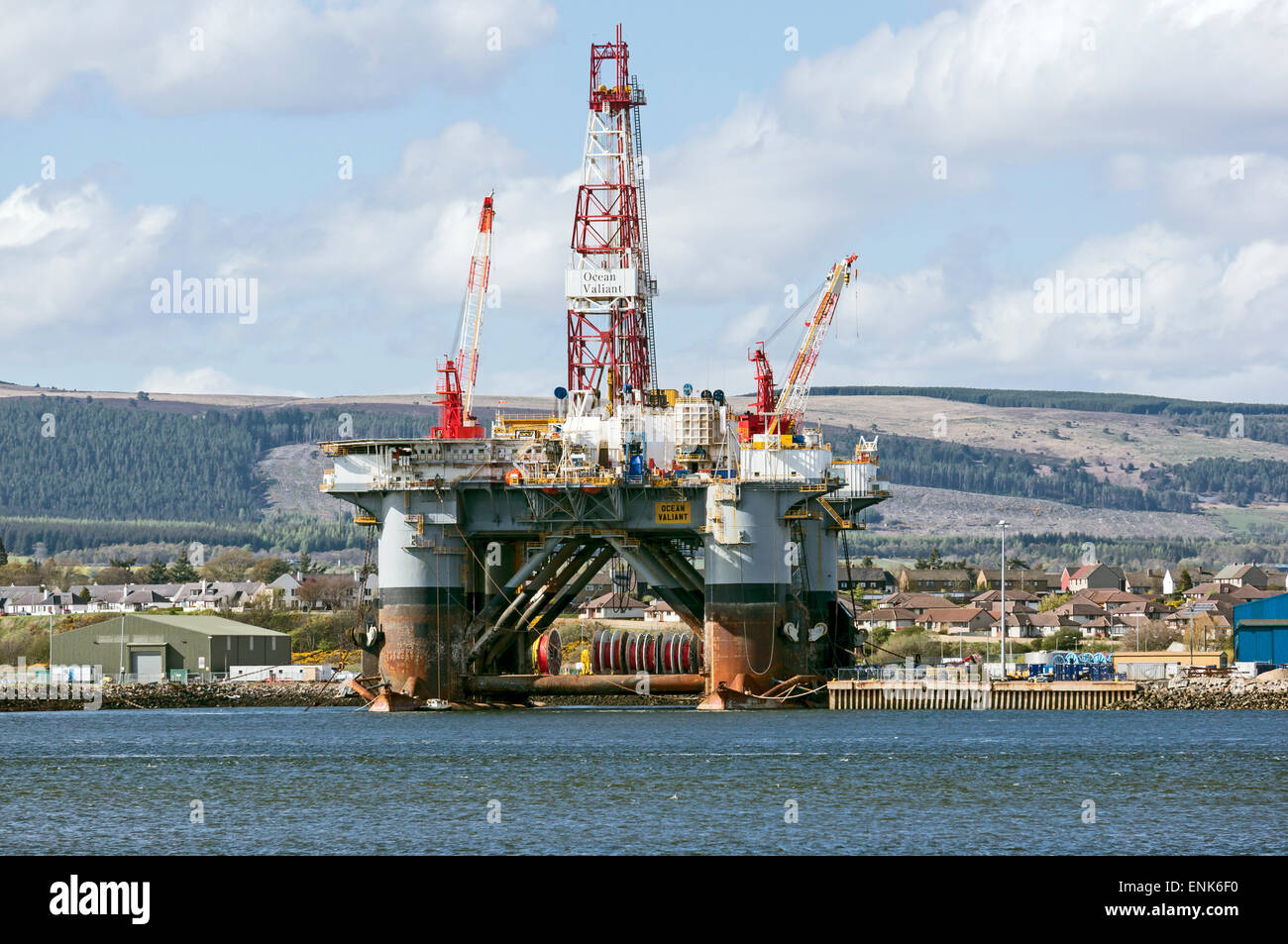 Oil drilling Rig Ocean Valiant anchored in the Cromarty Firth at the Black Isle Highland Scotland - Stock Image