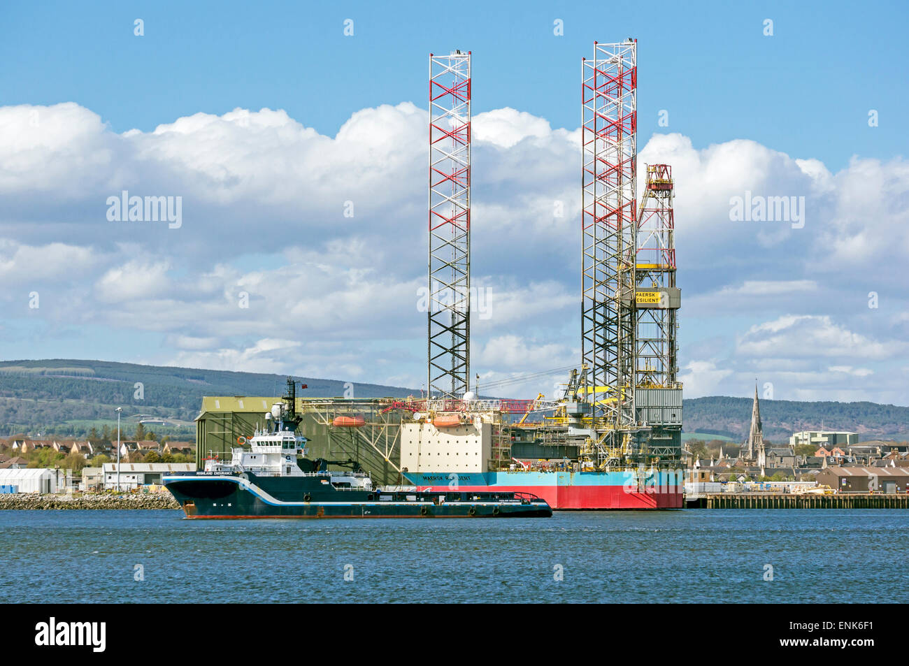 Highland Endurance & Maersk Resilient anchored at Invergordon in the Cromarty Firth Highland Scotland - Stock Image