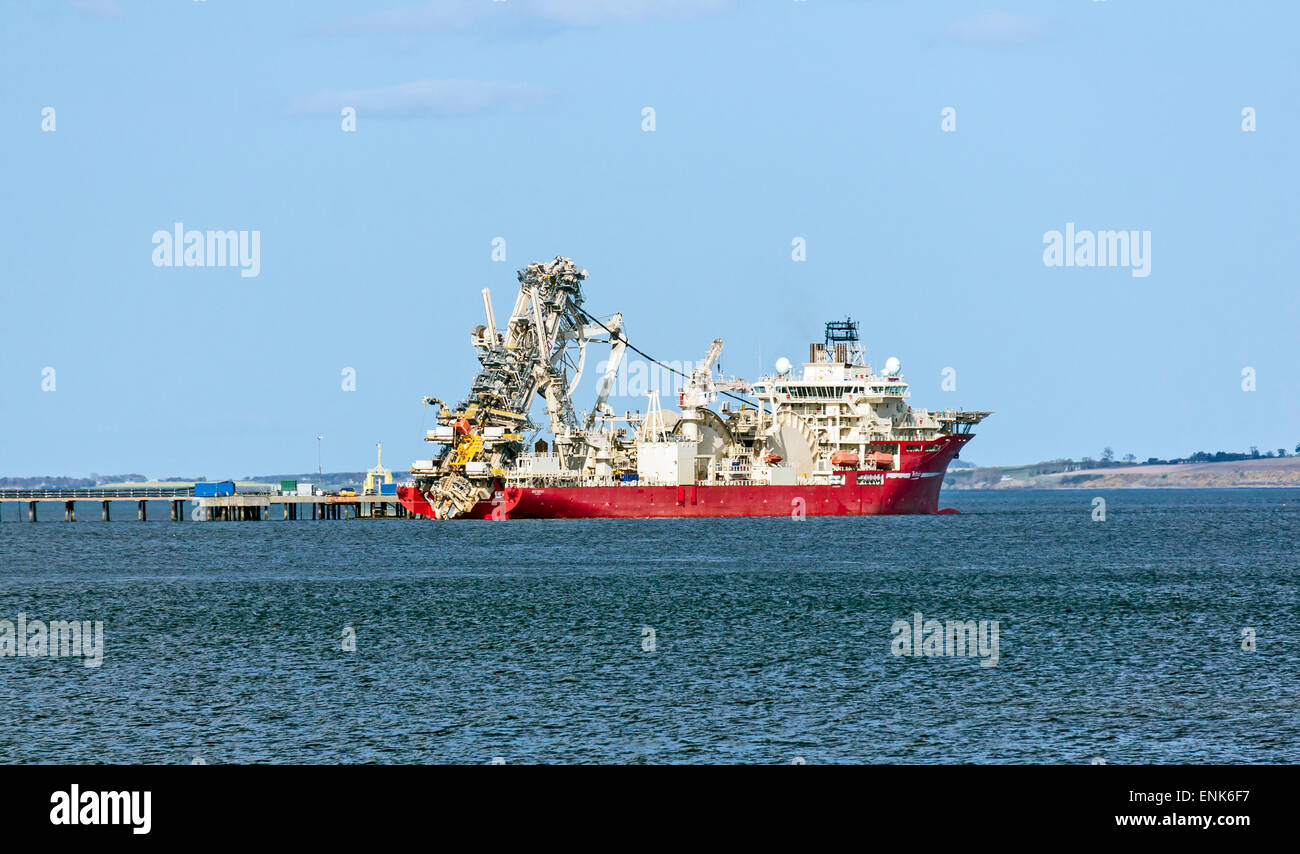 Pipe laying vessel Deep Energy anchored at Invergordon in the Cromarty Firth  Highland Scotland - Stock Image