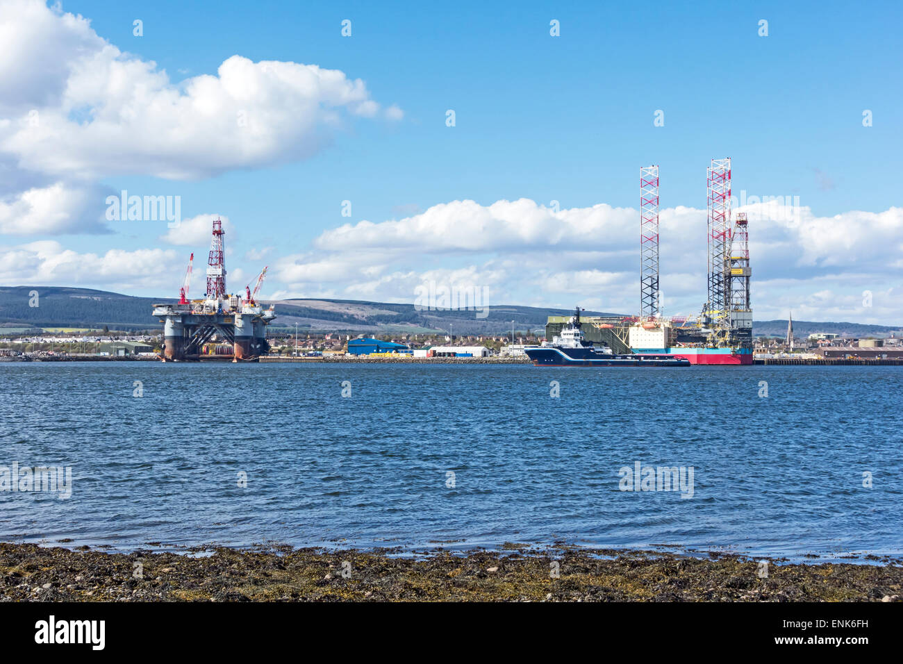 Rig Ocean Valiant, Highland Endurance & Maersk Resilient moored at Invergordon in the Cromarty Firth  Highland - Stock Image