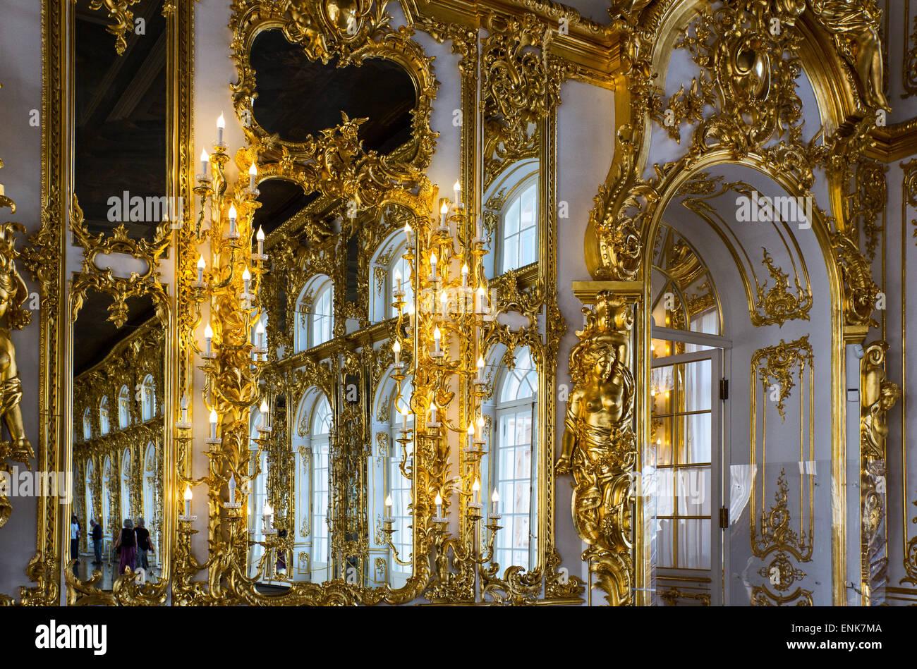 Russia, St.Petersburg, Pushkin, Tsarkoje Selo, the beautiful interiors of the Catherine Palace - Stock Image