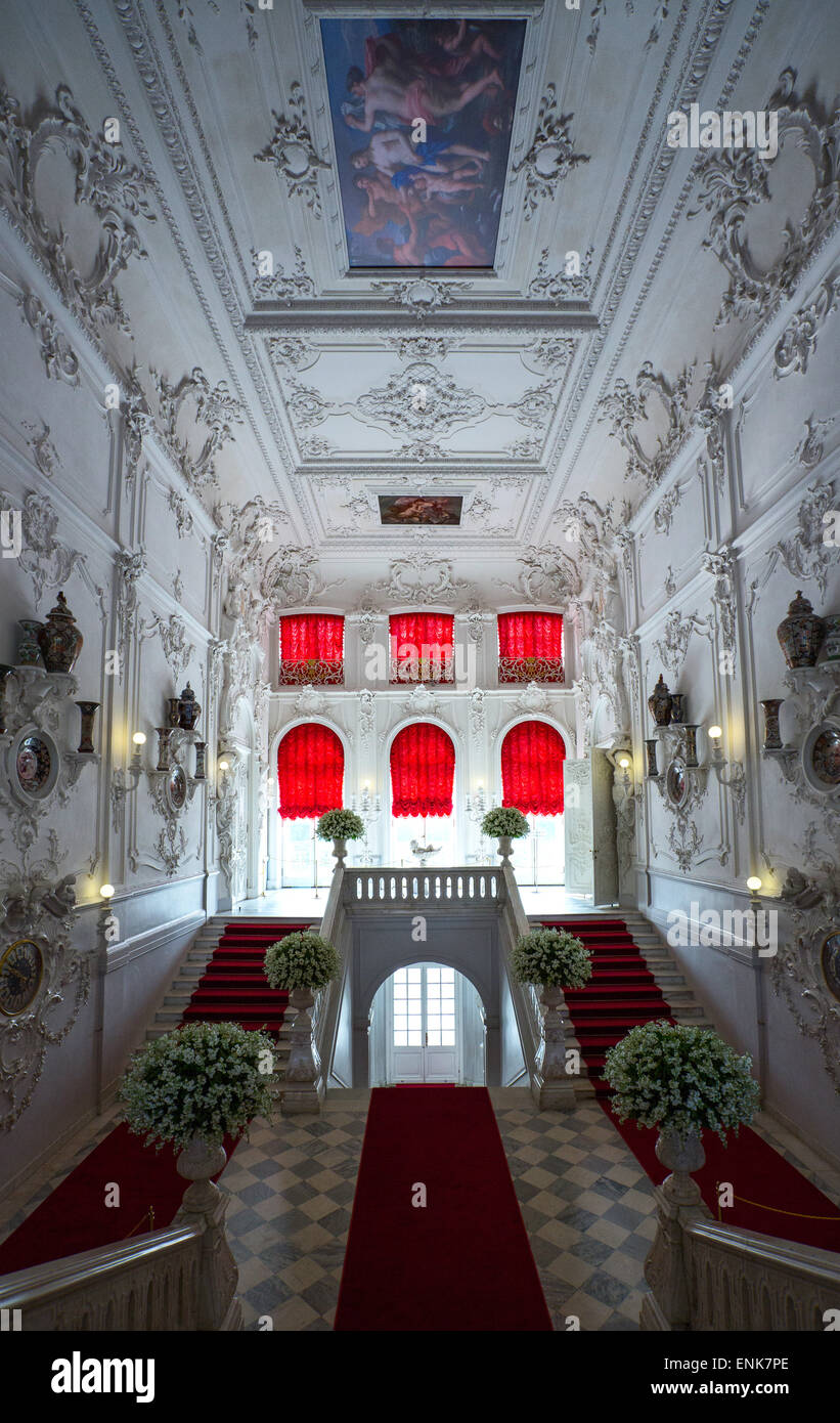 Russia, St.Petersburg, Pushkin, Tsarkoje Selo, the entrance staircase of the Catherine Palace - Stock Image