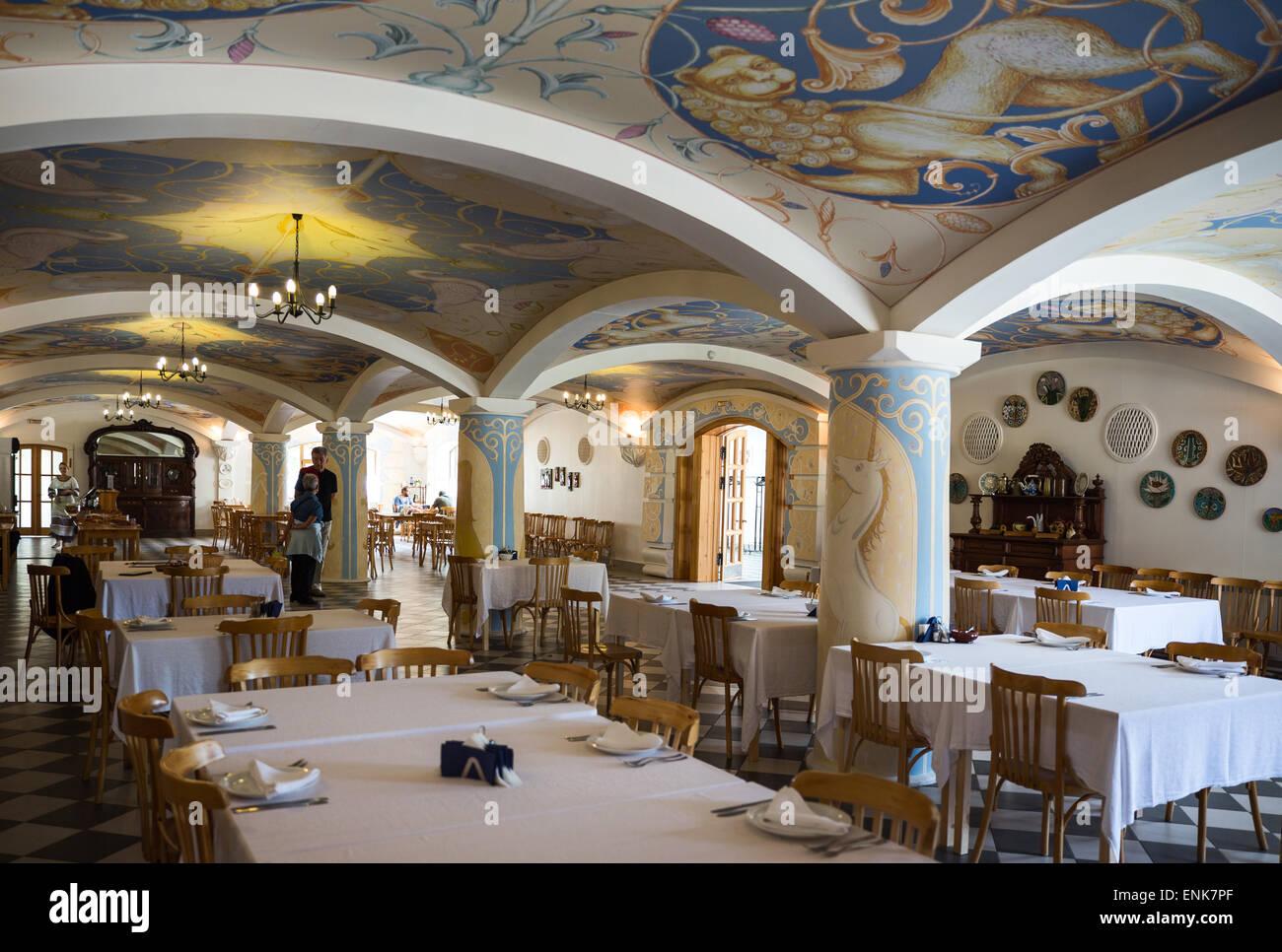 Russia, Leningrad region, Mandrogi, a craft village on the Svir river bank, an elegant restaurant of a new resort - Stock Image