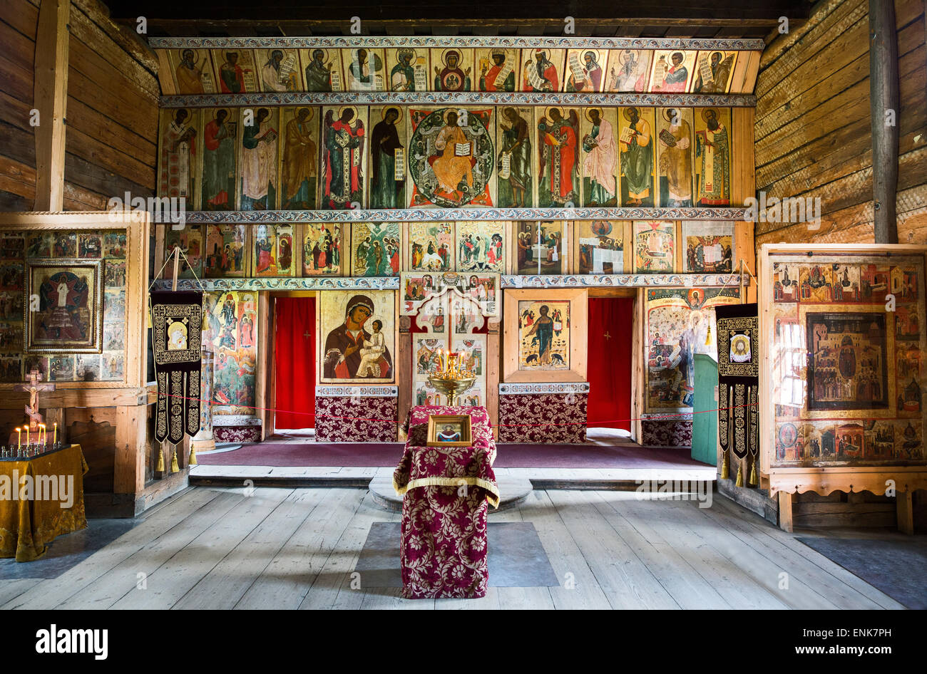 Russia, Kishi island on the lake Onega, open air Museum of Karelian Wooden Architecture, the Assumption church interior - Stock Image