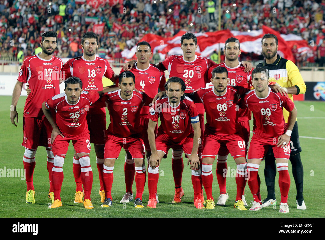 Tehran Iran 6th May 2015 Players Of Iran S Persepolis Pose For A Stock Photo Alamy