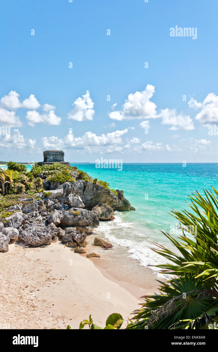 God of Winds Temple guarding Tulum's sea entrance bay in Quintana Roo, Mexico - Stock Image