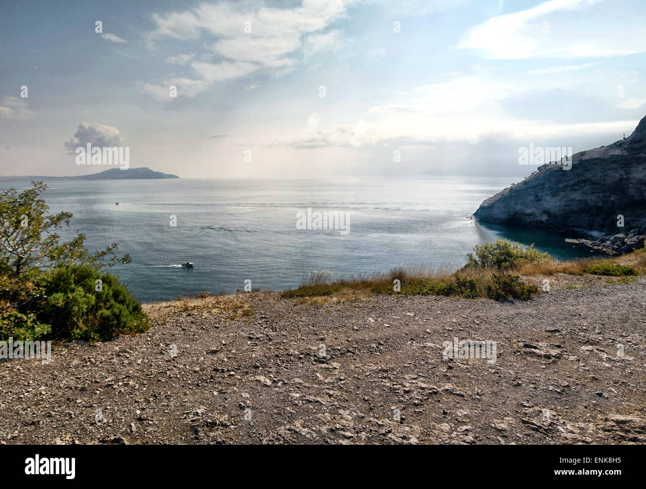 Crimea mountains and Black sea landscape, good sunny day - Stock Image