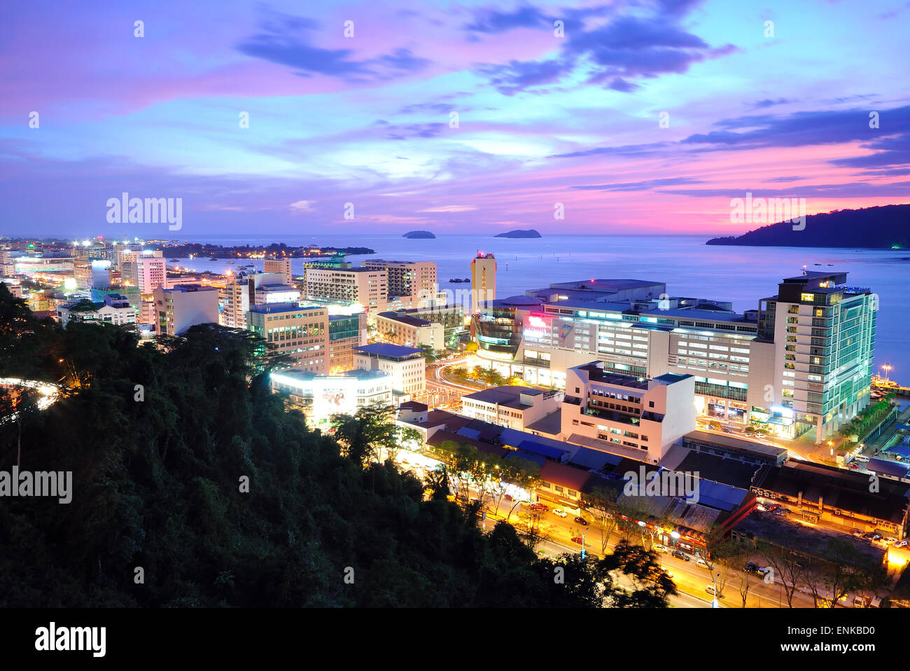 Kota Kinabalu Night scenery during sunset, Kota Kinabalu is the capital city of the state of Sabah, located in East - Stock Image