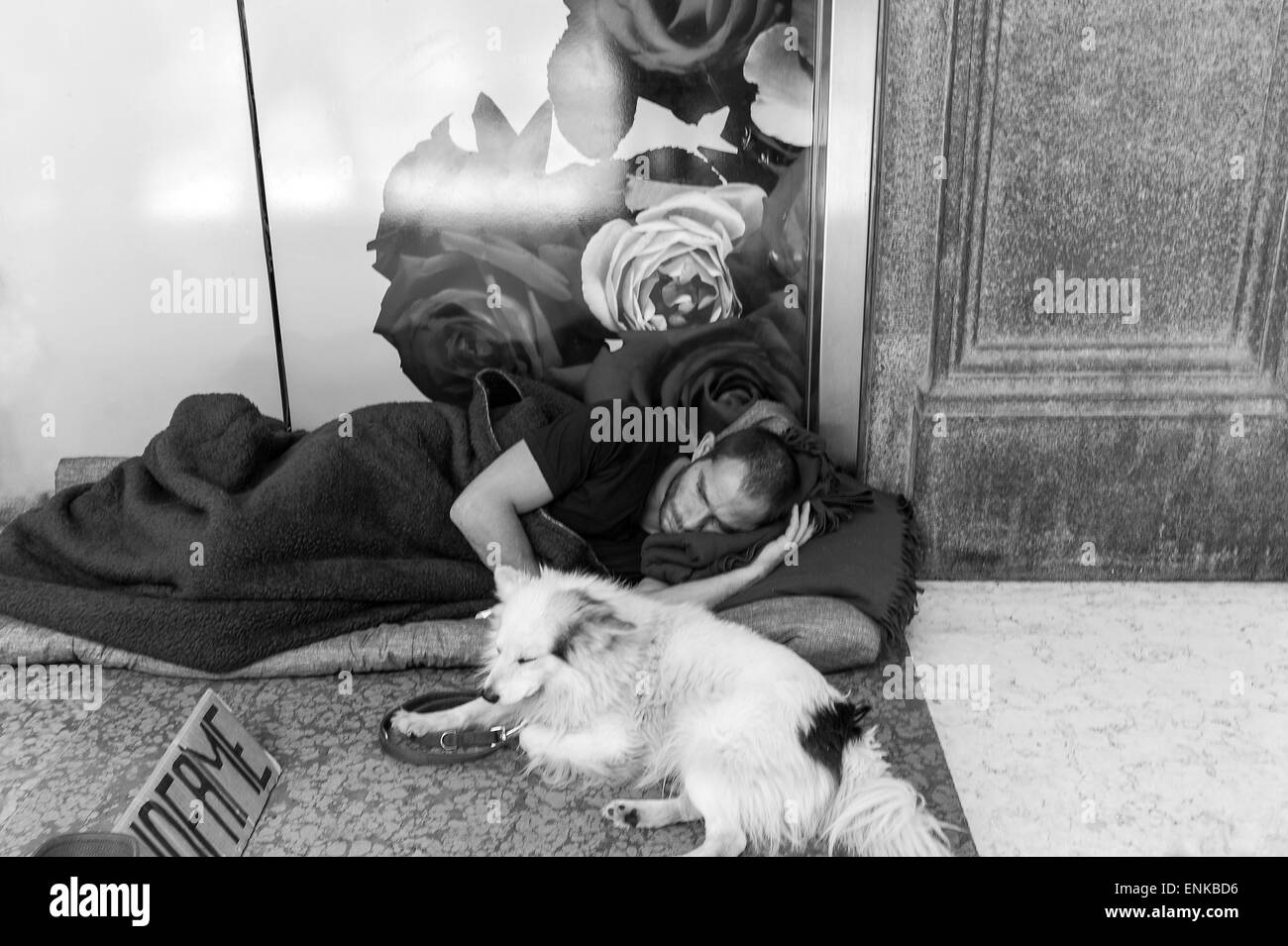 Italy, Milan, a homeless man with his dog, sleeping in front of a shopwindow  in Corso Vittorio Emanuele - Stock Image