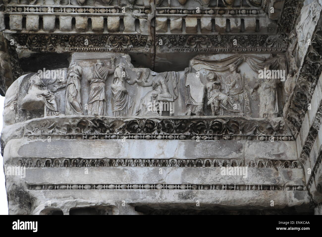 Italy. Rome. Forum of Nerva. Temple Minerva. 1st century AD. Remains of peristyle. Detail reliefs. - Stock Image