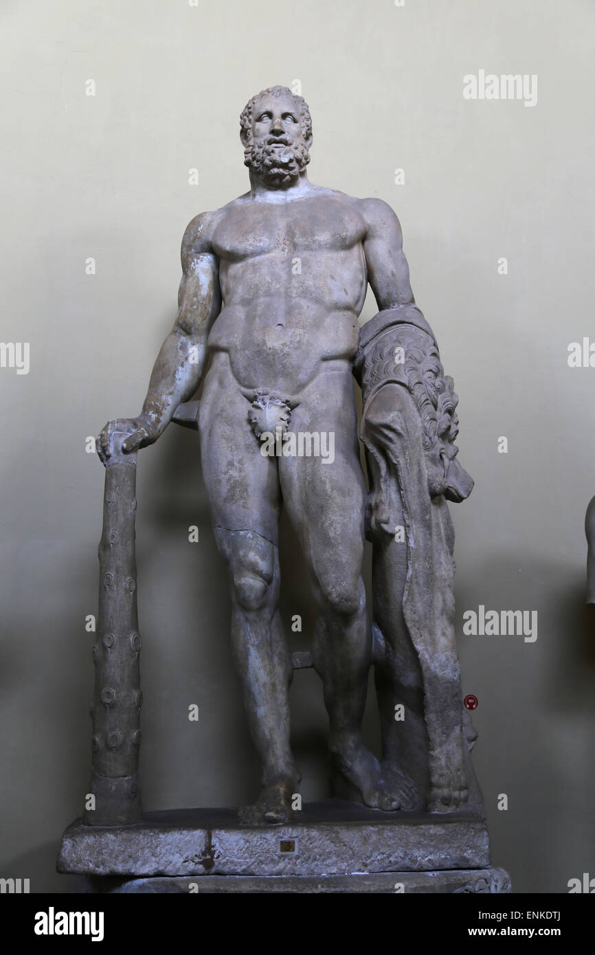 Statue of Hercules with a club. From Baths of Stigliano, near Bracciano. Roman work. 1st century. Vatican Museums. - Stock Image