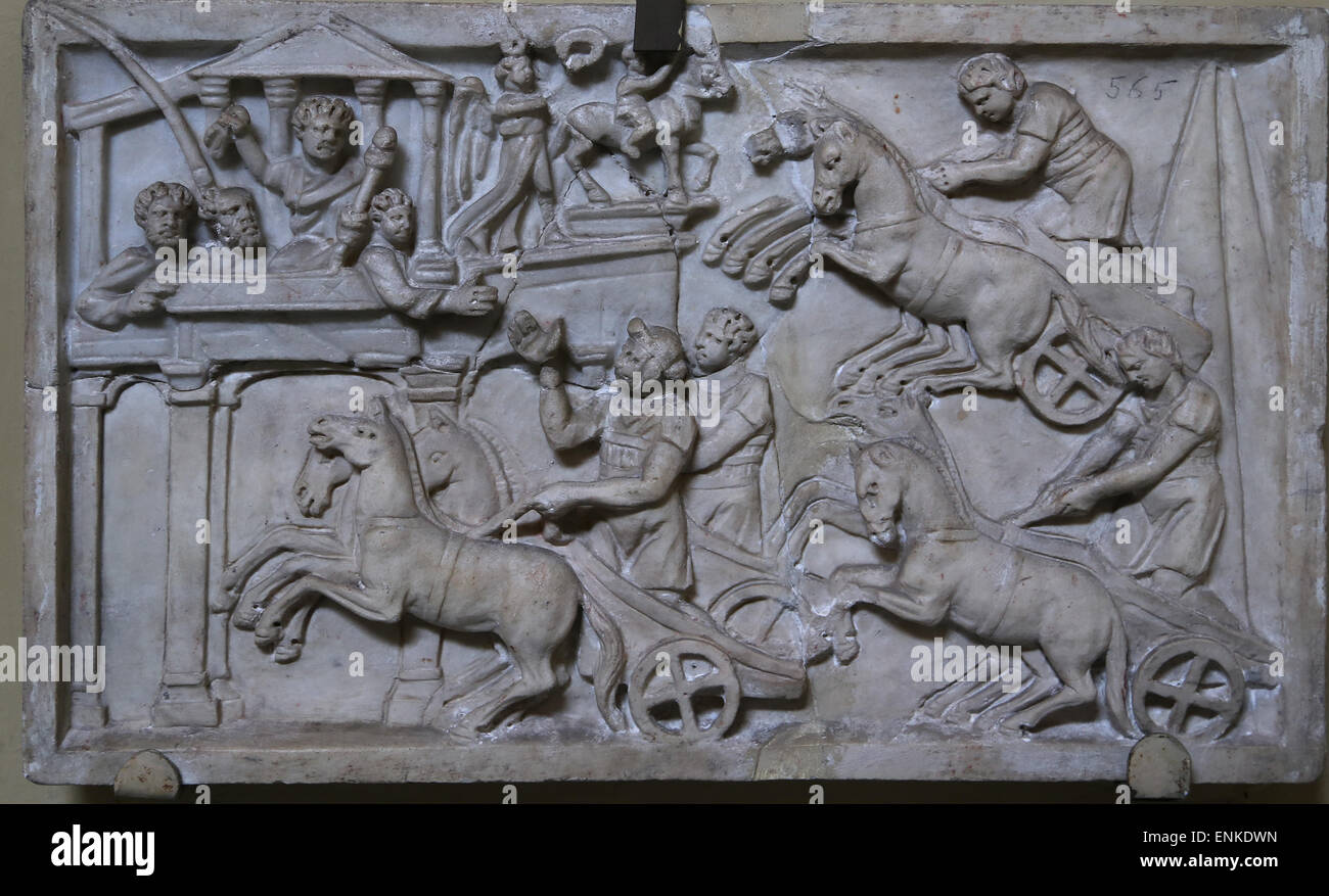 Relief. Chariot race in the Circus Maximus, Rome, 3rd c. AD. - Stock Image