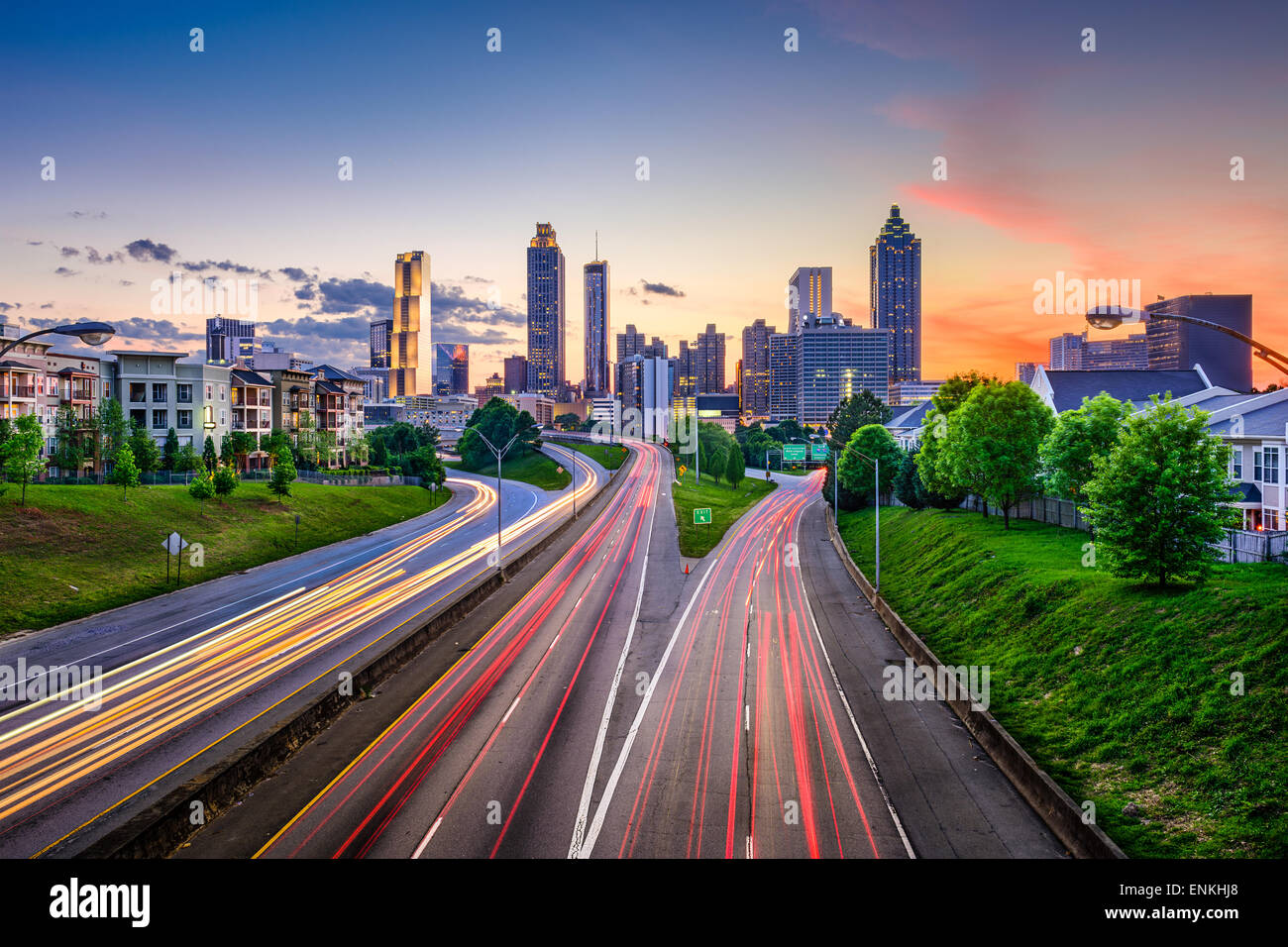 Atlanta, Georgia, USA downtown city skyline over Freedom Parkway. - Stock Image